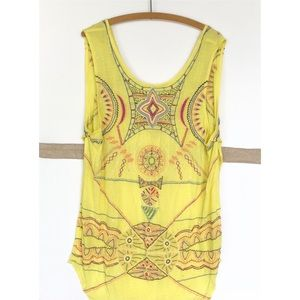 NWOT Free People • Embroidered Yellow Tank Tunic